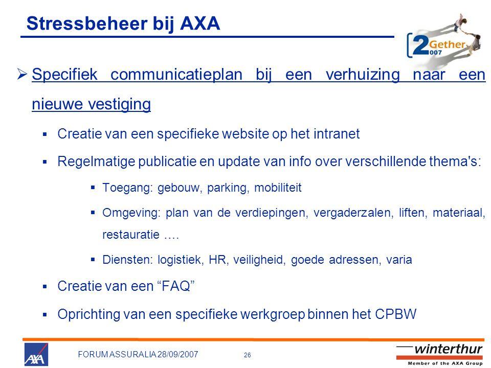 Stressbeheer bij AXA Specifiek communicatieplan bij een verhuizing naar een nieuwe vestiging. Creatie van een specifieke website op het intranet.