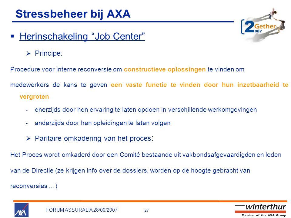 Stressbeheer bij AXA Herinschakeling Job Center Principe: