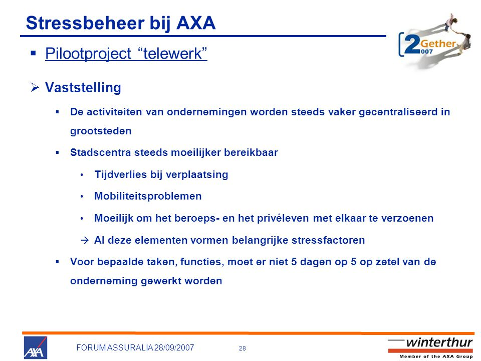 Stressbeheer bij AXA Pilootproject telewerk Vaststelling