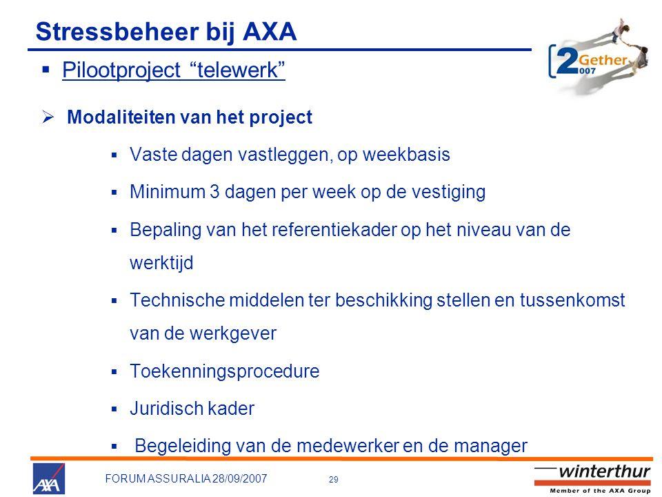 Stressbeheer bij AXA Pilootproject telewerk