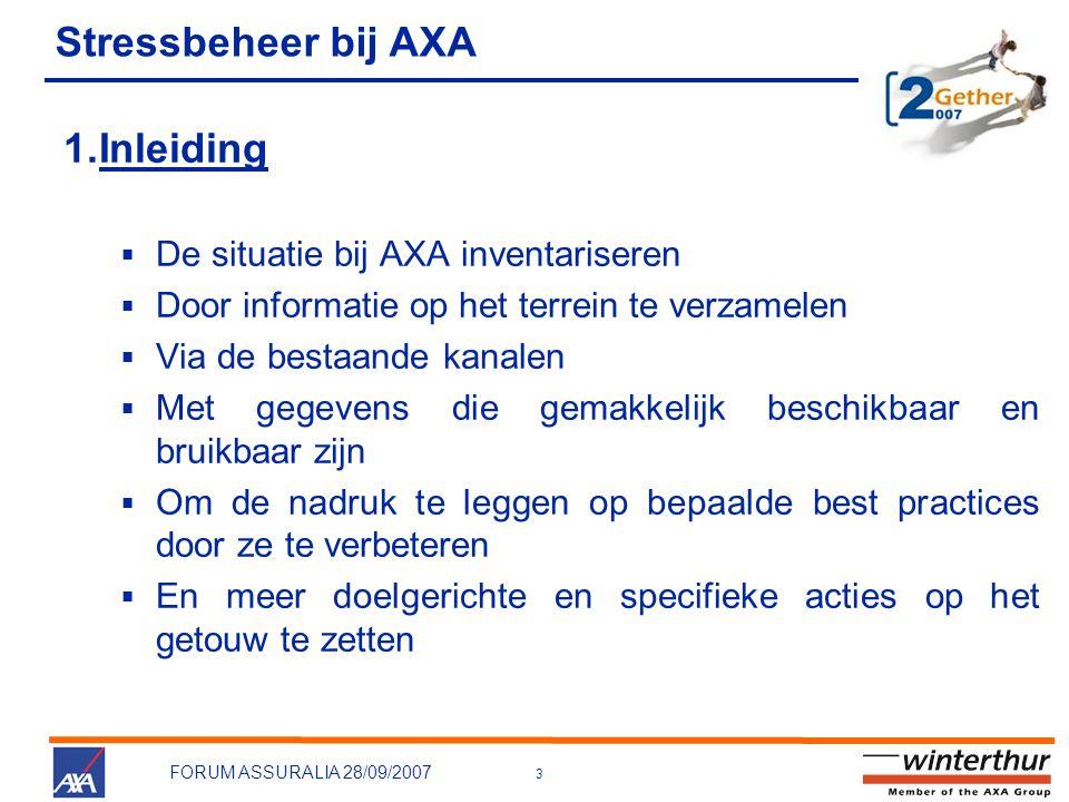 Stressbeheer bij AXA Inleiding De situatie bij AXA inventariseren