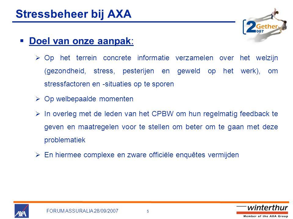 Stressbeheer bij AXA Doel van onze aanpak: