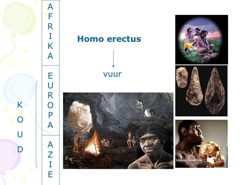 A F R I K A E U R O P A A Z I E Homo erectus vuur K O U D