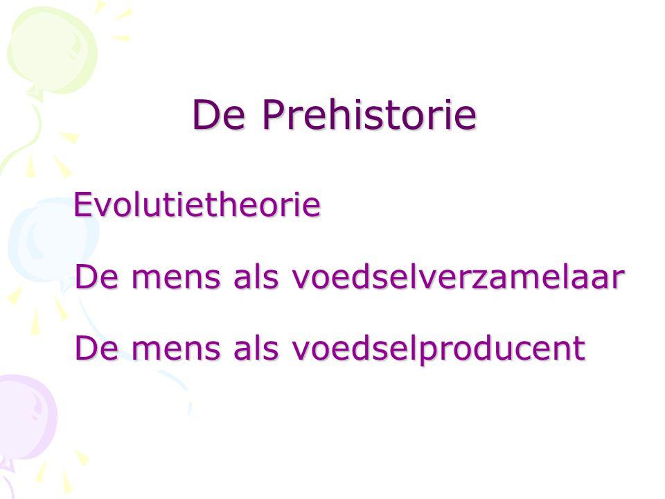 De Prehistorie Evolutietheorie De mens als voedselverzamelaar De mens als voedselproducent