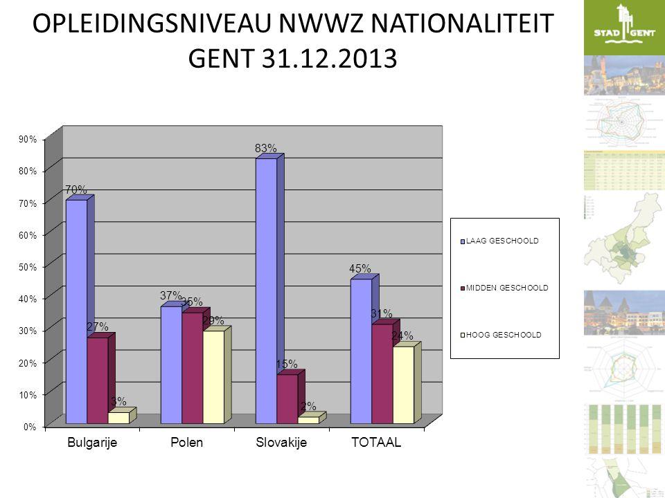 OPLEIDINGSNIVEAU NWWZ NATIONALITEIT GENT 31.12.2013
