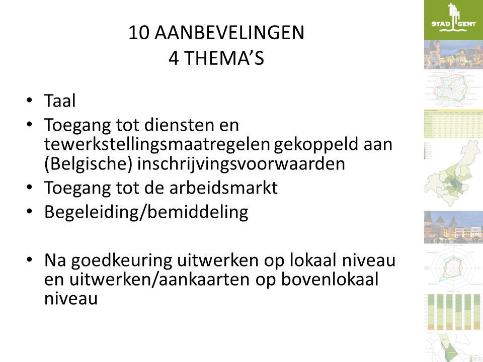 10 AANBEVELINGEN 4 THEMA'S