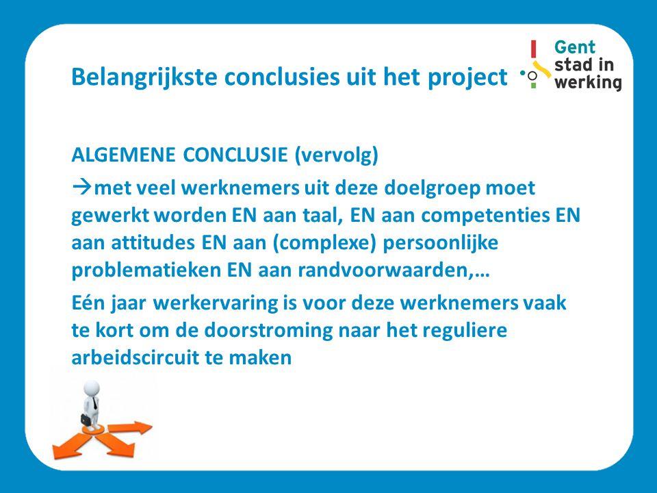 Belangrijkste conclusies uit het project