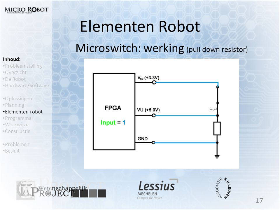 Microswitch: werking (pull down resistor)
