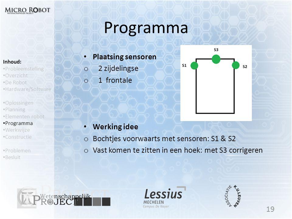 Programma Plaatsing sensoren 2 zijdelingse 1 frontale Werking idee