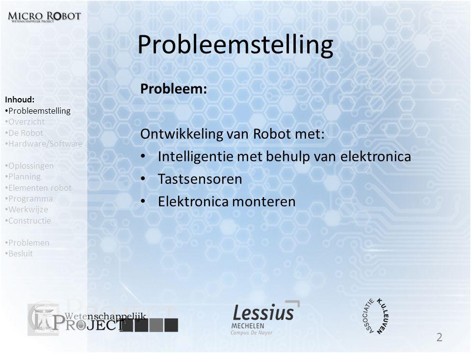 Probleemstelling Probleem: Ontwikkeling van Robot met: