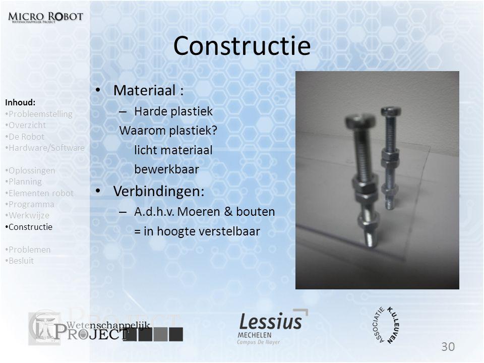 Constructie Materiaal : Verbindingen: Harde plastiek Waarom plastiek