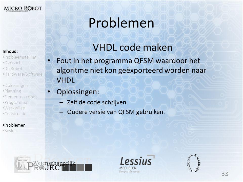 Problemen VHDL code maken
