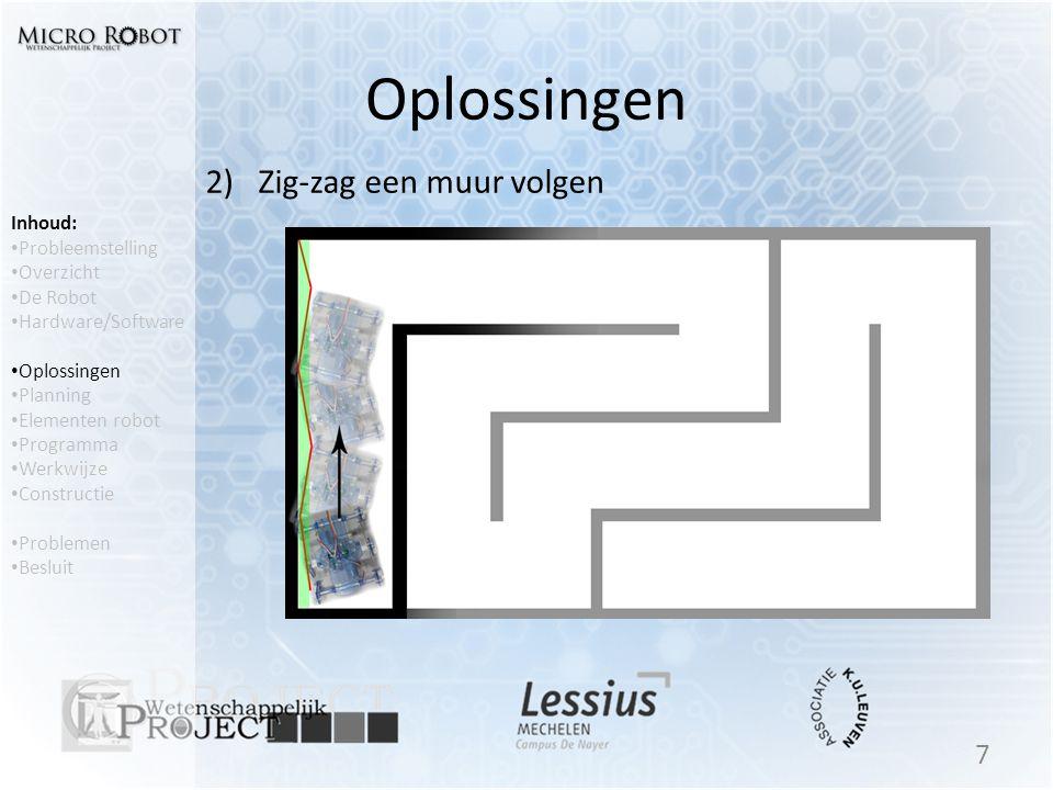 Oplossingen 2) Zig-zag een muur volgen Inhoud: Probleemstelling