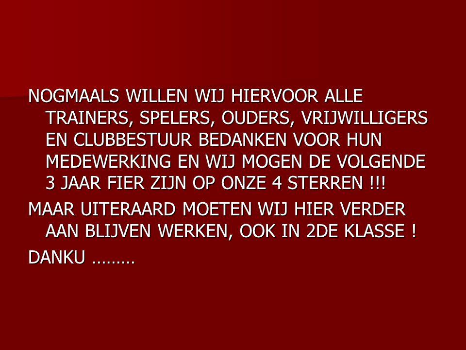 NOGMAALS WILLEN WIJ HIERVOOR ALLE TRAINERS, SPELERS, OUDERS, VRIJWILLIGERS EN CLUBBESTUUR BEDANKEN VOOR HUN MEDEWERKING EN WIJ MOGEN DE VOLGENDE 3 JAAR FIER ZIJN OP ONZE 4 STERREN !!!