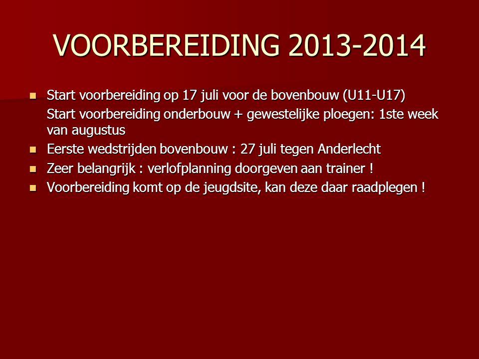 VOORBEREIDING 2013-2014 Start voorbereiding op 17 juli voor de bovenbouw (U11-U17)