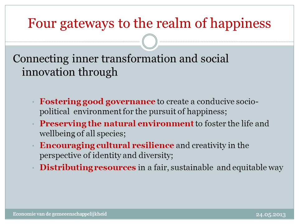 Four gateways to the realm of happiness