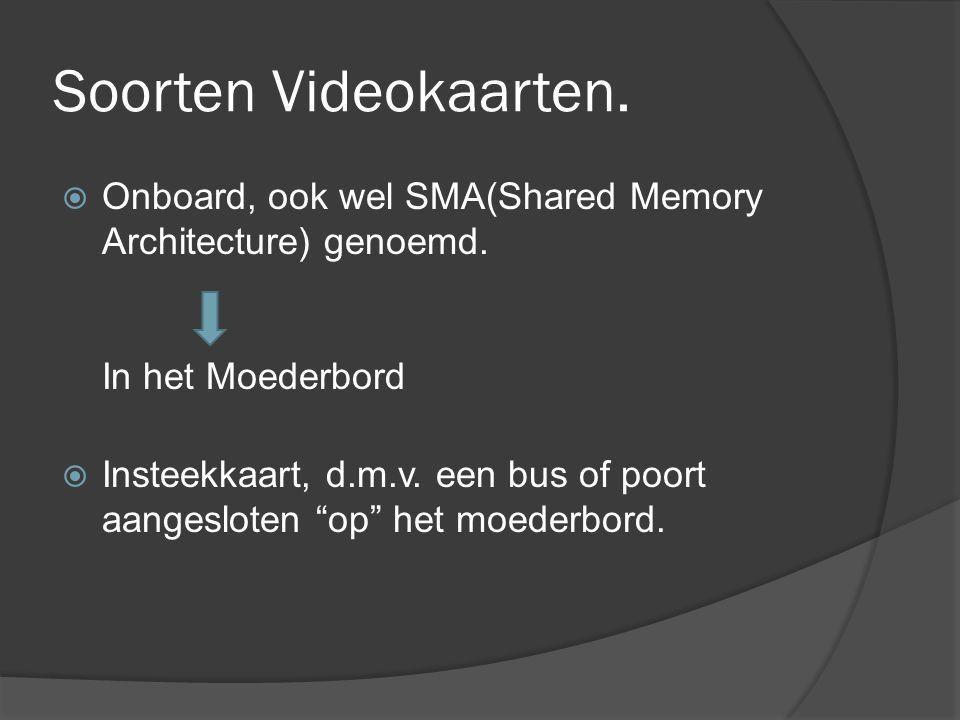 Soorten Videokaarten. Onboard, ook wel SMA(Shared Memory Architecture) genoemd. In het Moederbord.