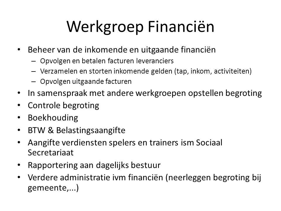 Werkgroep Financiën Beheer van de inkomende en uitgaande financiën