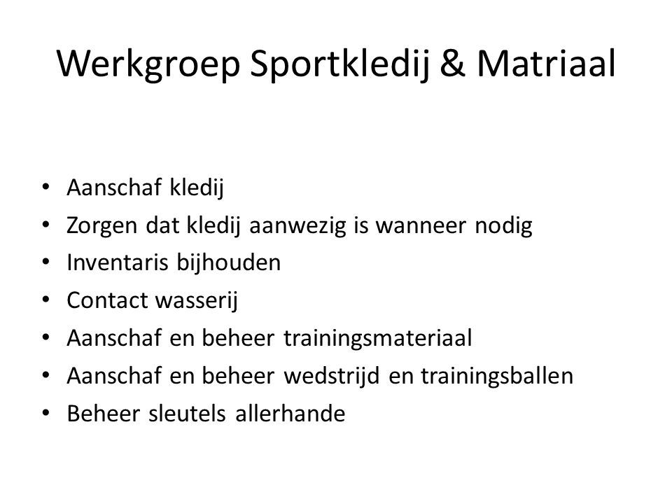 Werkgroep Sportkledij & Matriaal