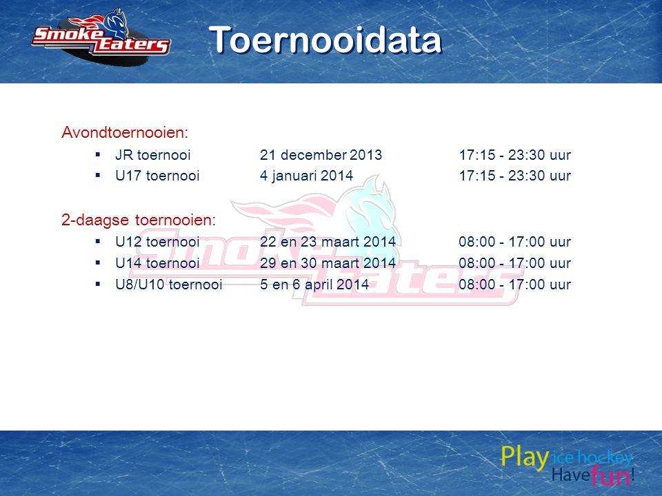 Toernooidata Avondtoernooien: 2-daagse toernooien: