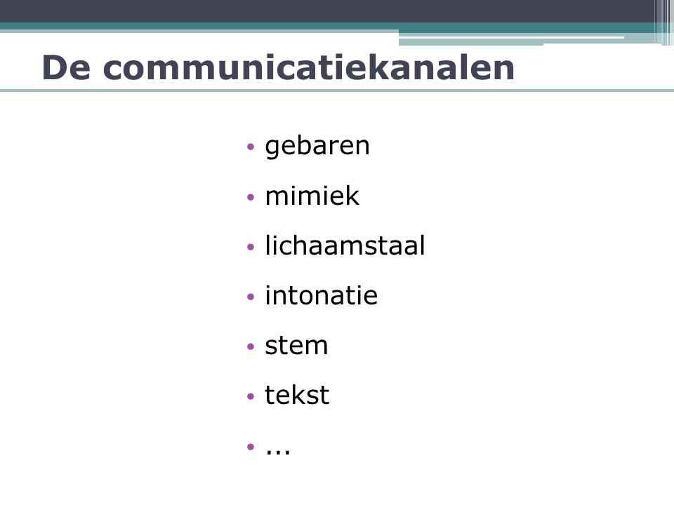 De communicatiekanalen
