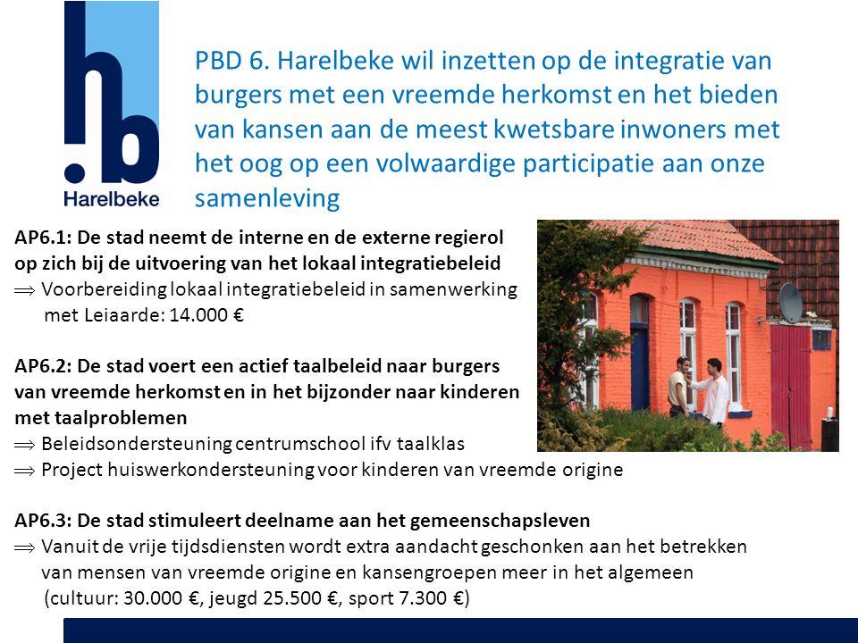 PBD 6. Harelbeke wil inzetten op de integratie van burgers met een vreemde herkomst en het bieden van kansen aan de meest kwetsbare inwoners met het oog op een volwaardige participatie aan onze samenleving