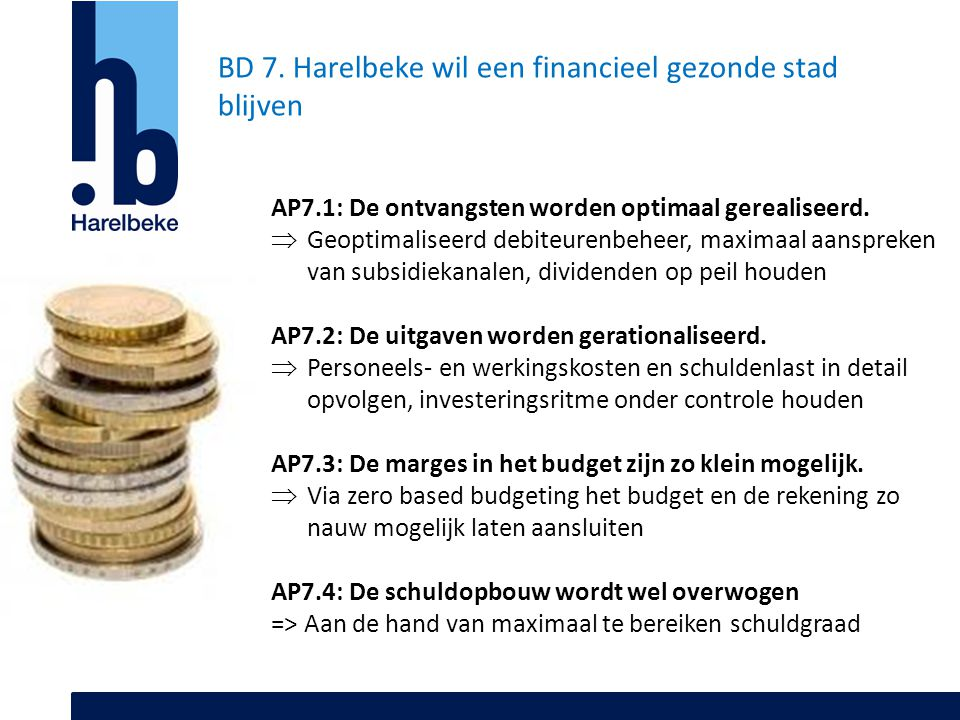 BD 7. Harelbeke wil een financieel gezonde stad blijven