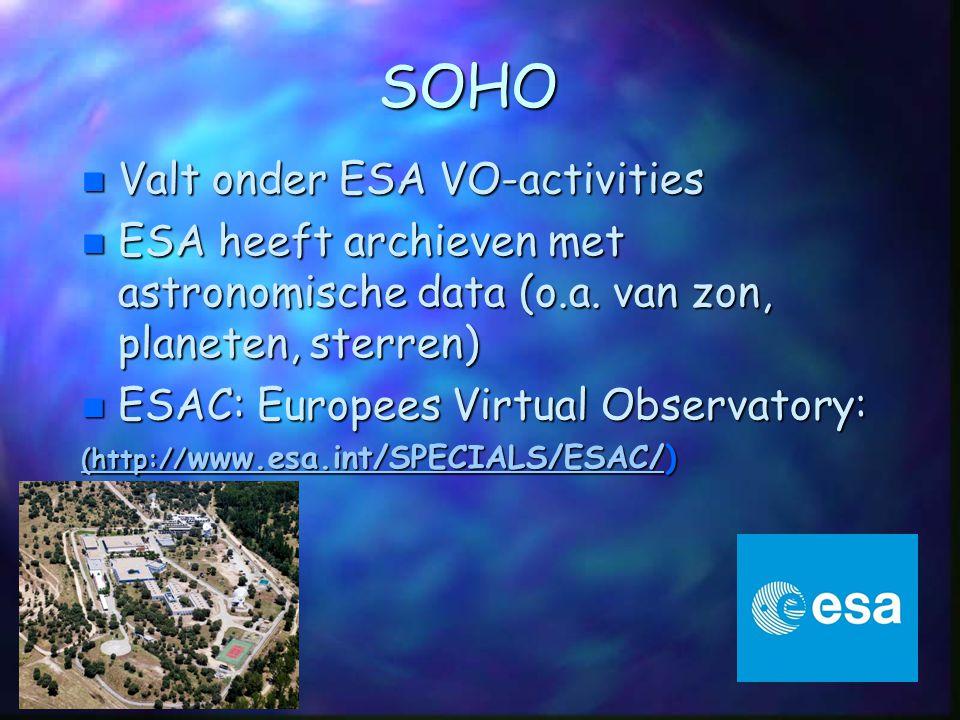 SOHO Valt onder ESA VO-activities