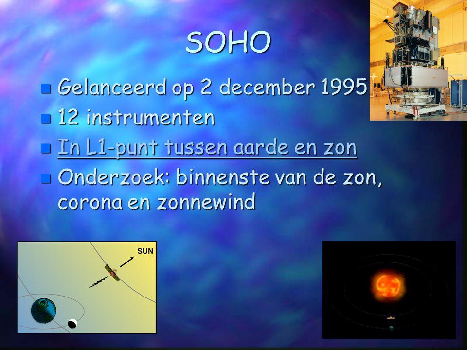 SOHO Gelanceerd op 2 december 1995 12 instrumenten