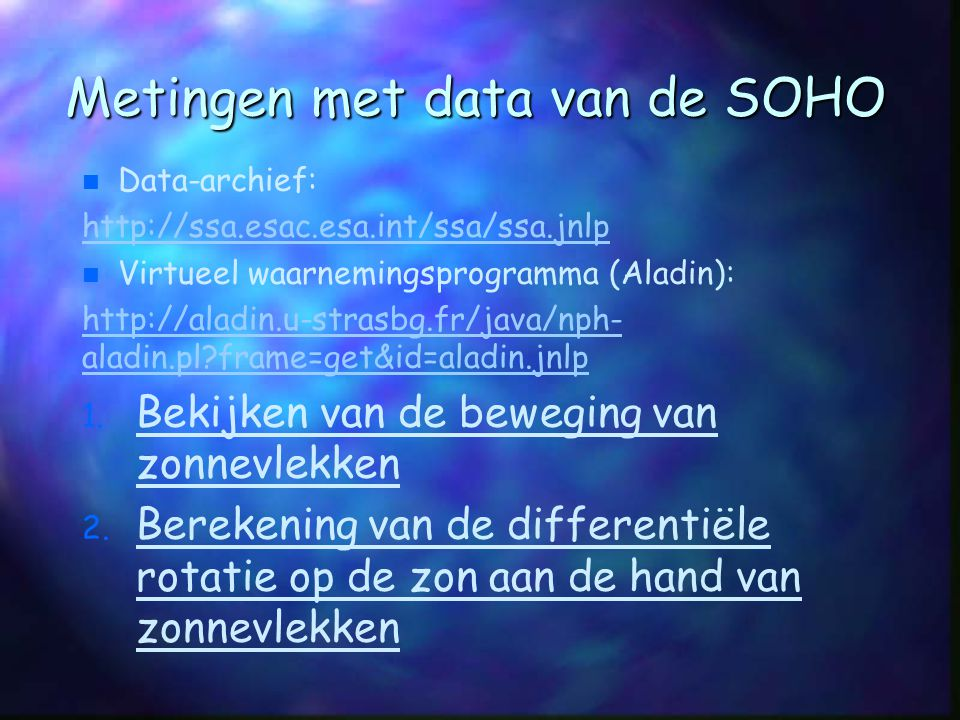 Metingen met data van de SOHO