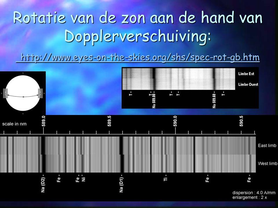 Rotatie van de zon aan de hand van Dopplerverschuiving: http://www