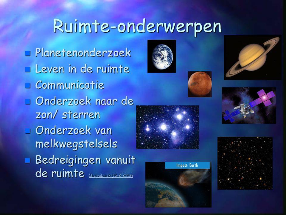 Ruimte-onderwerpen Planetenonderzoek Leven in de ruimte Communicatie