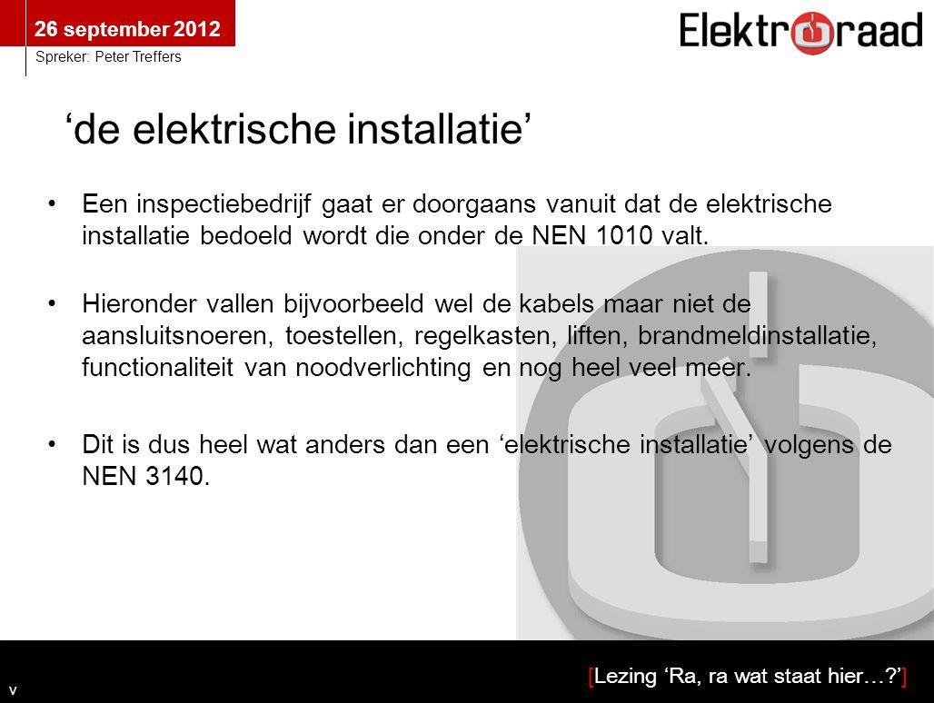 'de elektrische installatie'