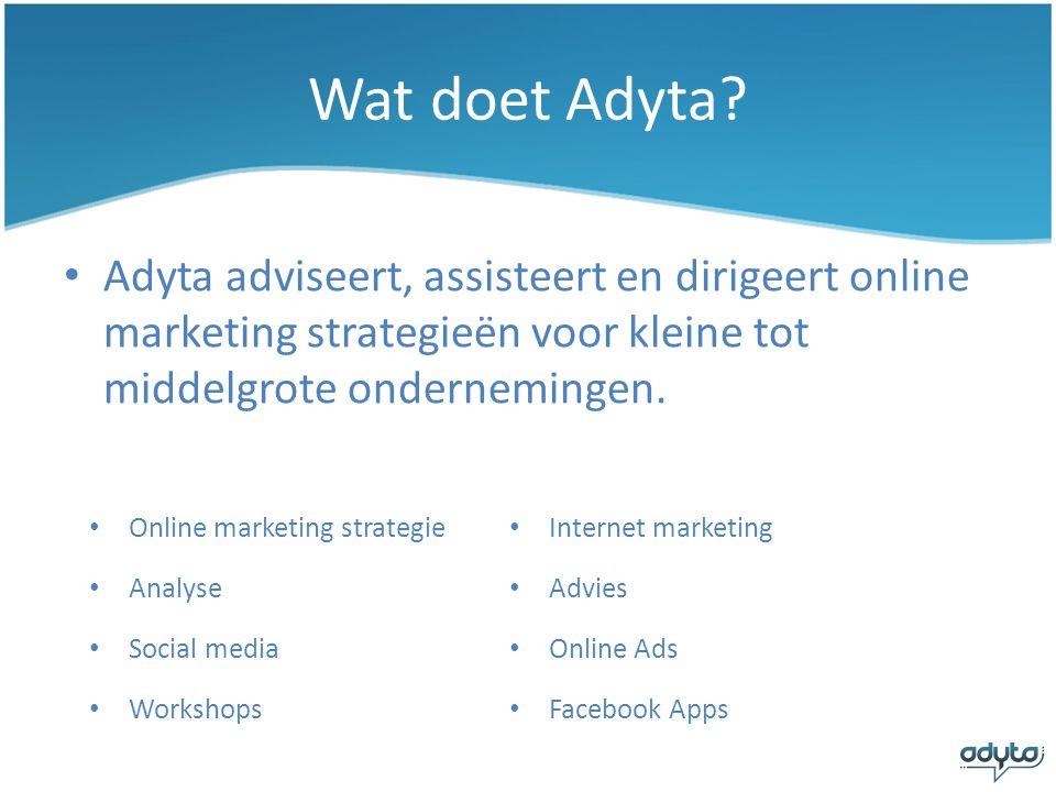 Wat doet Adyta Adyta adviseert, assisteert en dirigeert online marketing strategieën voor kleine tot middelgrote ondernemingen.