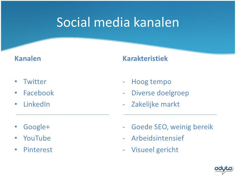 Social media kanalen Kanalen Karakteristiek Twitter Facebook LinkedIn