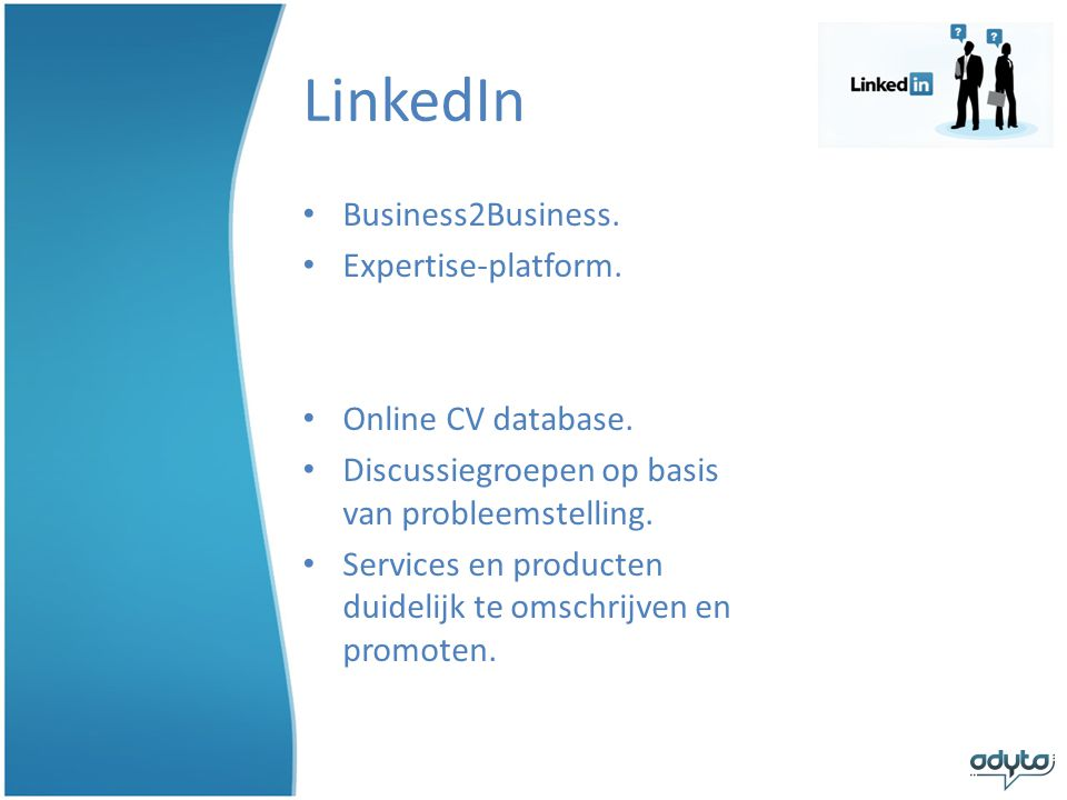 LinkedIn Business2Business. Expertise-platform. Online CV database.