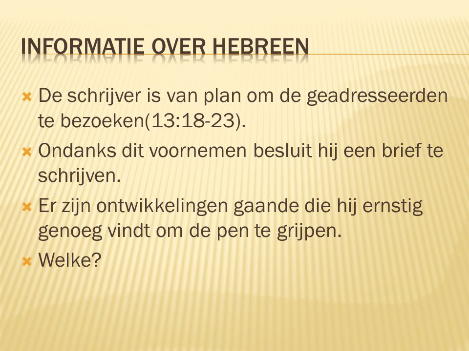 Informatie over Hebreen
