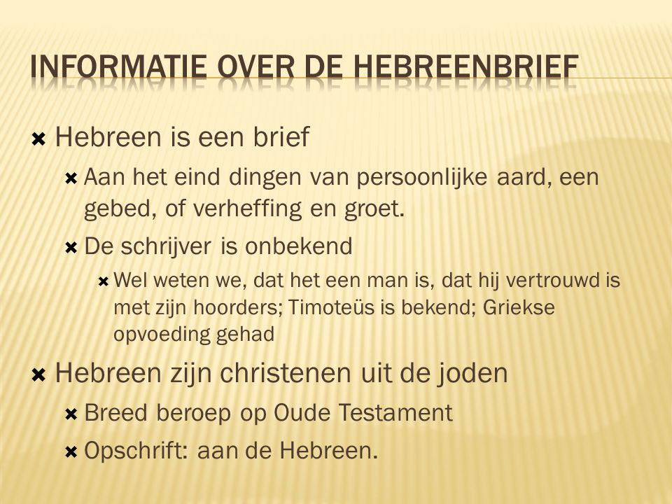 Informatie over de Hebreenbrief