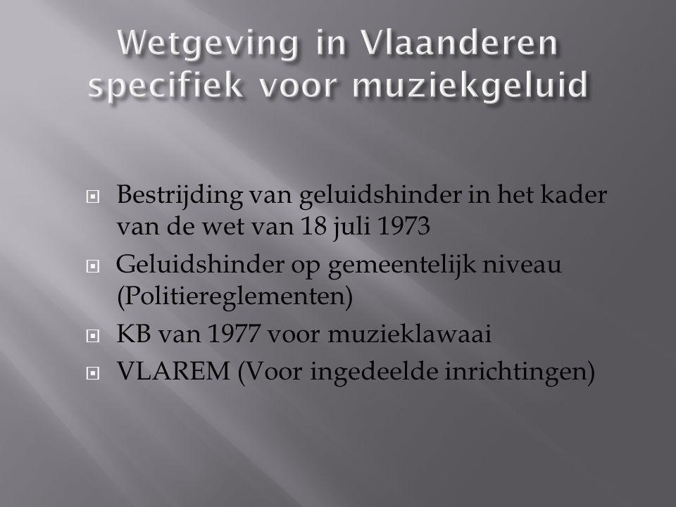 Wetgeving in Vlaanderen specifiek voor muziekgeluid