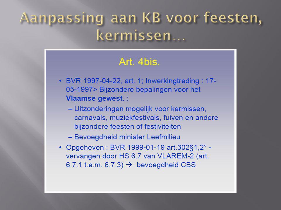 Aanpassing aan KB voor feesten, kermissen…