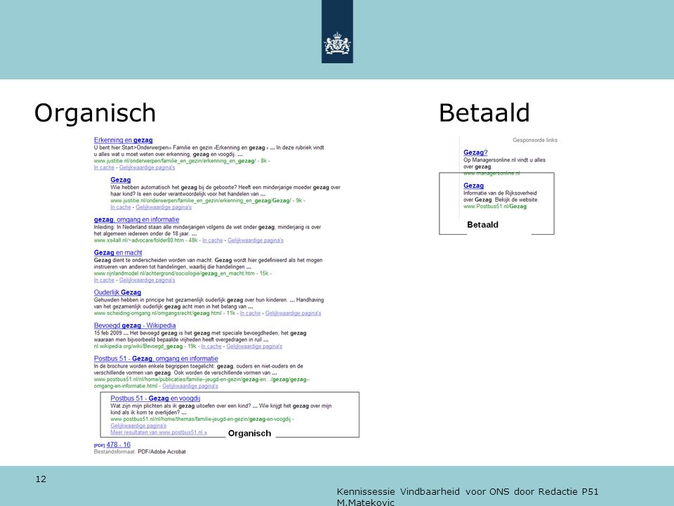 Organisch Betaald Kennissessie Vindbaarheid voor ONS door Redactie P51 M.Matekovic