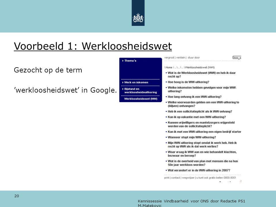 Voorbeeld 1: Werkloosheidswet