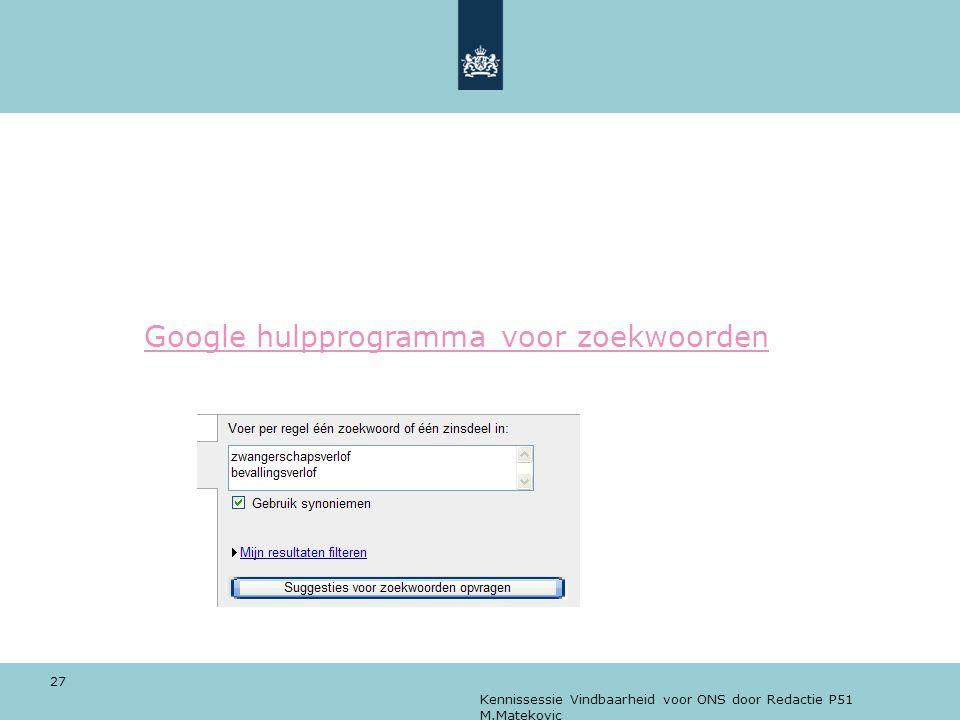Google hulpprogramma voor zoekwoorden