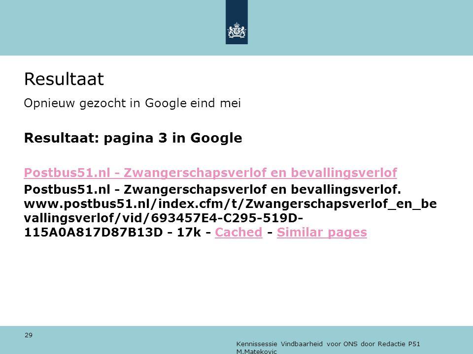 Resultaat Resultaat: pagina 3 in Google
