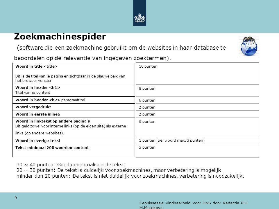 Zoekmachinespider (software die een zoekmachine gebruikt om de websites in haar database te beoordelen op de relevantie van ingegeven zoektermen).