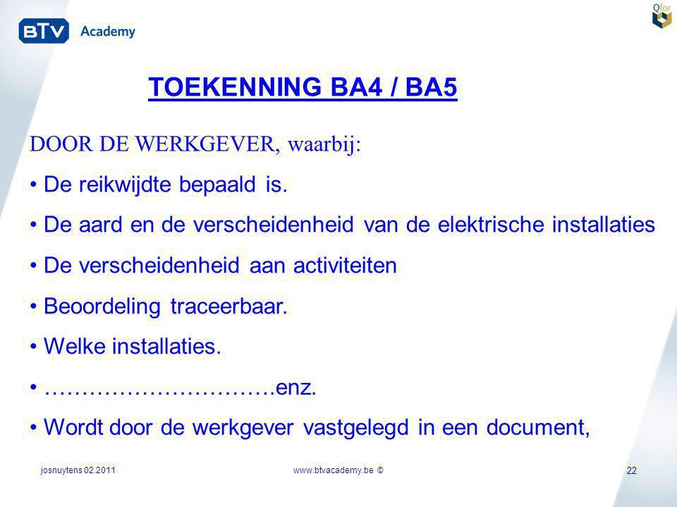 TOEKENNING BA4 / BA5 DOOR DE WERKGEVER, waarbij: