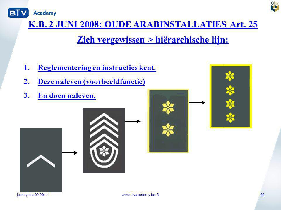 K.B. 2 JUNI 2008: OUDE ARABINSTALLATIES Art. 25