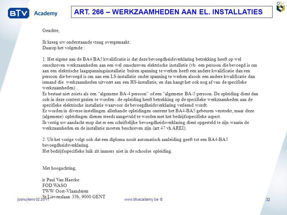 ART. 266 – WERKZAAMHEDEN AAN EL. INSTALLATIES