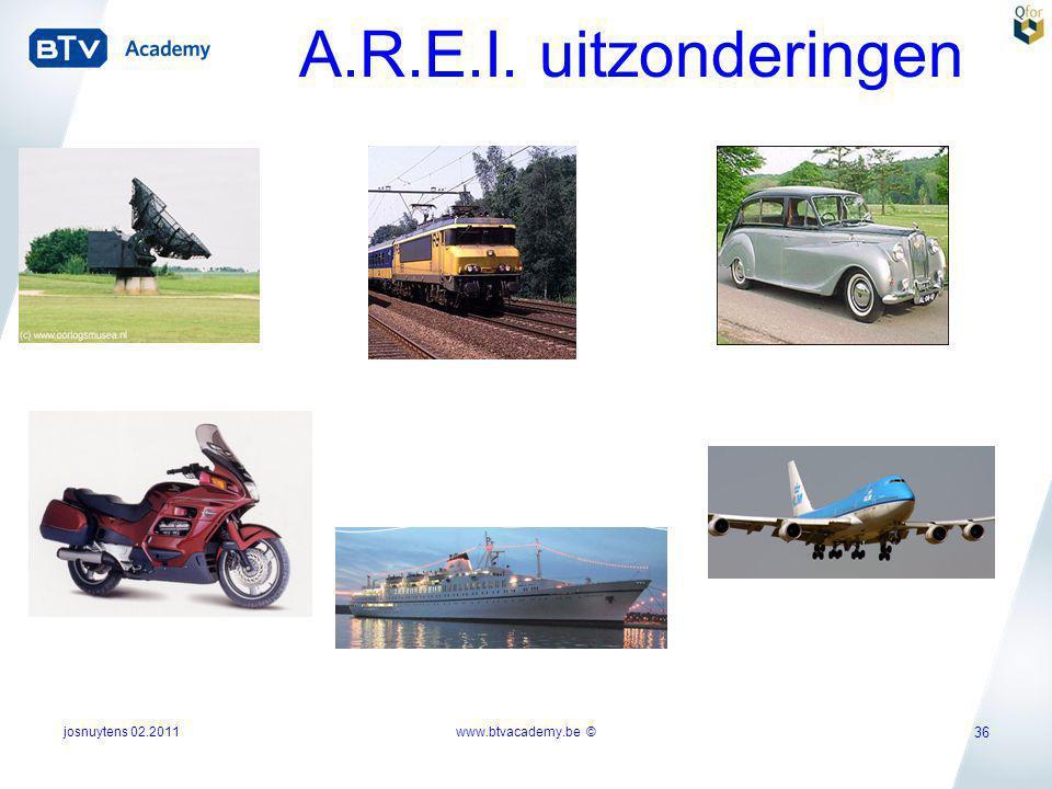 A.R.E.I. uitzonderingen josnuytens 02.2011 www.btvacademy.be ©