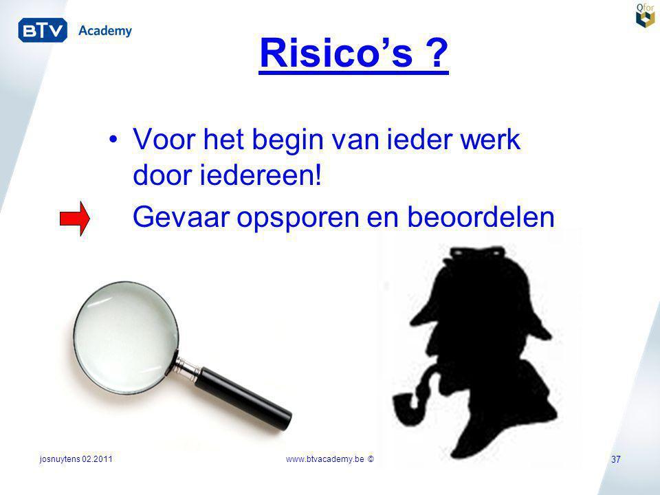 Risico's Voor het begin van ieder werk door iedereen!